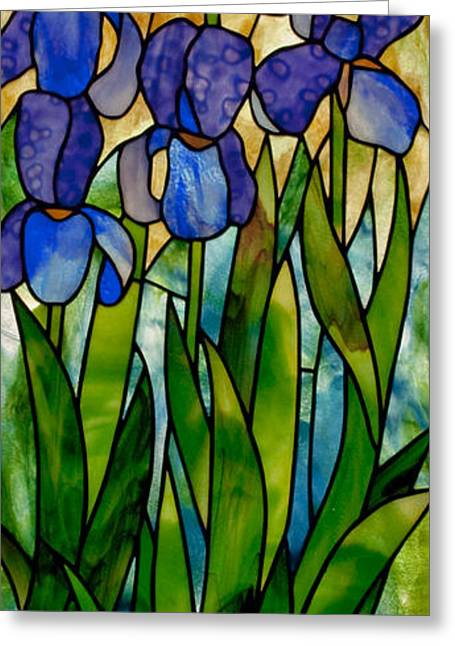 Art Nouveau Glass Art Greeting Cards - Alices irises Greeting Card by David Kennedy