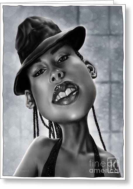 Wacom Greeting Cards - Alicia Keys Greeting Card by Andre Koekemoer