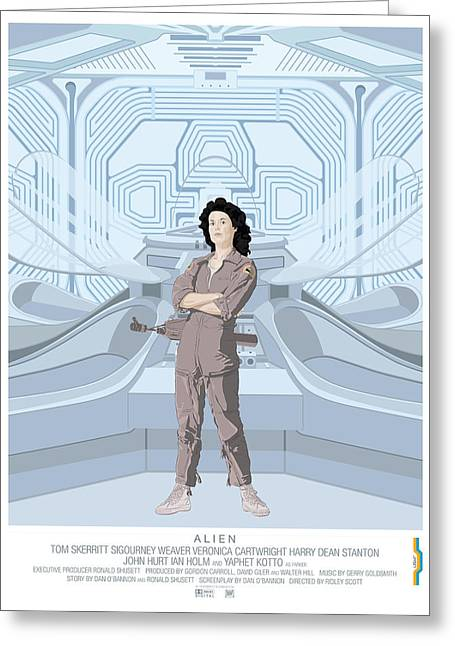 Space Alien Greeting Cards - Alien 1979 Movie Poster - feat. Ripley Greeting Card by Peter Cassidy