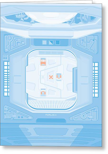 Alien Digital Greeting Cards - Alien 1979 Poster - Airlock Greeting Card by Peter Cassidy