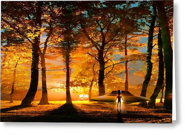 Surreal Photography Greeting Cards - Alien And Ufo In The Forest Greeting Card by Panoramic Images