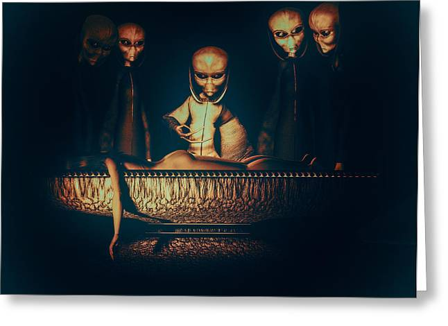 Abduction Digital Art Greeting Cards - Alien Autopsy Alien Abduction Greeting Card by Bob Orsillo