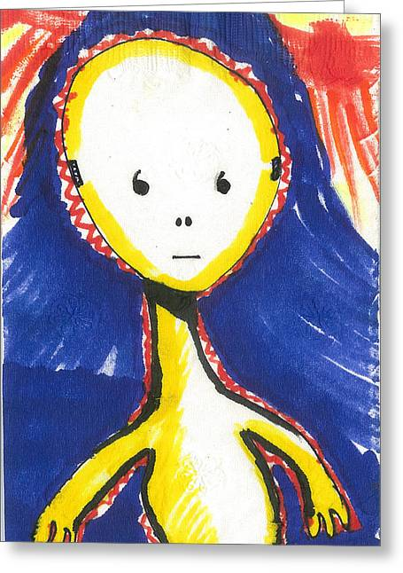 Science Fiction Tapestries - Textiles Greeting Cards - Alien Baby Greeting Card by Don Koester