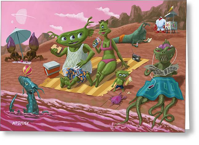 Children Ice Cream Greeting Cards - Alien Beach Vacation Greeting Card by Martin Davey