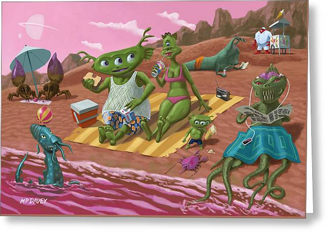 Alien Beach Vacation Greeting Card by Martin Davey