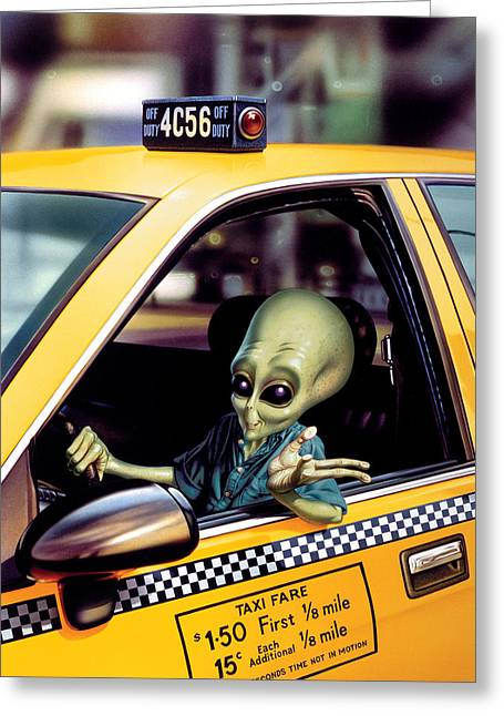 Fantasy Illustrations Greeting Cards - Alien Cab Greeting Card by Steve Read