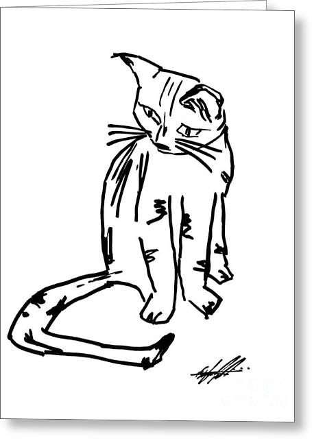 Pussy Drawings Greeting Cards - Alien Cat Greeting Card by Bruce Stanfield