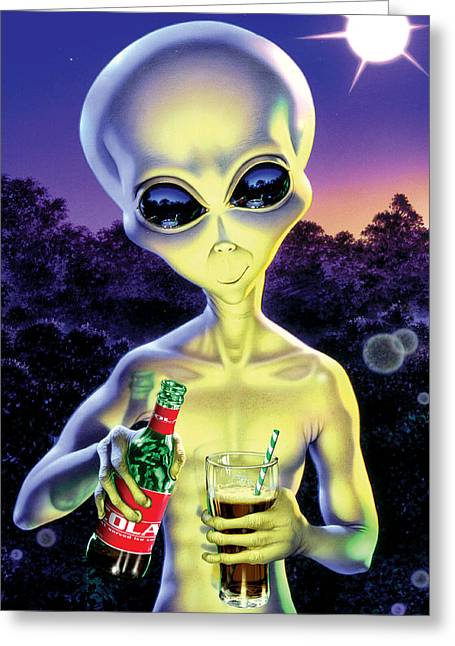 Properties Greeting Cards - Alien Cola Greeting Card by Steve Read