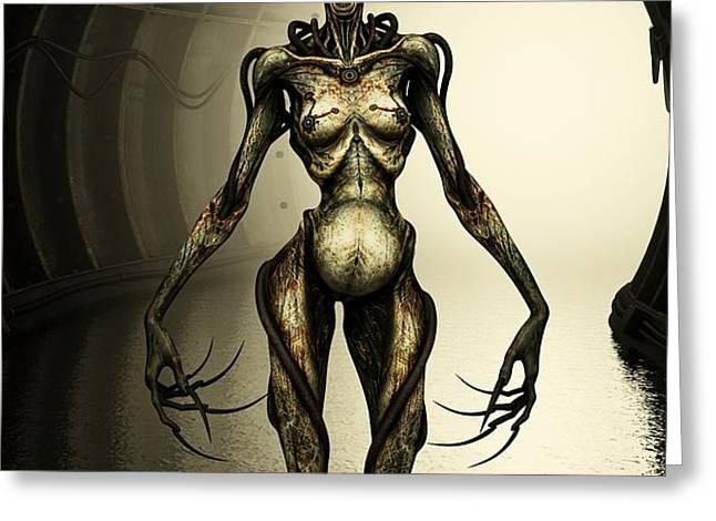 Alien Cyborg Greeting Card by Liam Liberty