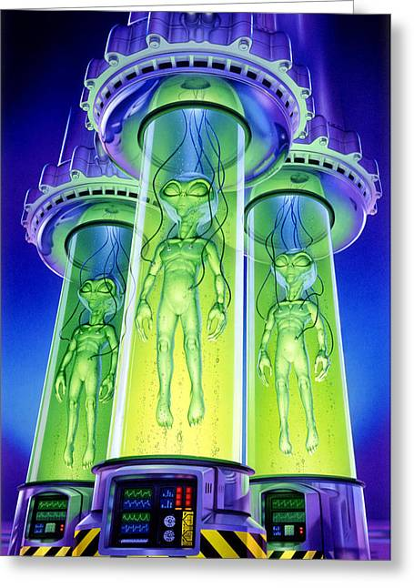 Area Greeting Cards - Alien Experiment Greeting Card by Steve Read