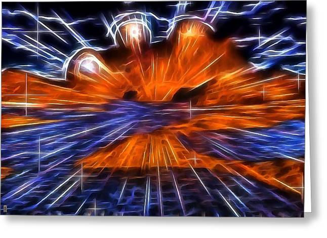 Surreal Landscape Mixed Media Greeting Cards - Alien Explosion Greeting Card by Mario Carini