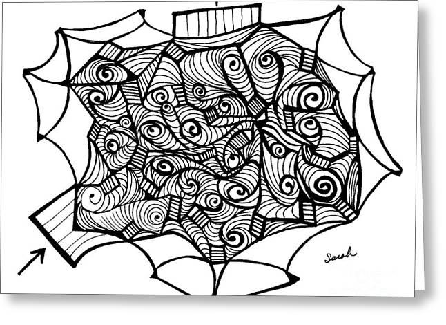 Abstract Geometric Drawings Greeting Cards - Alien Floor Plan Greeting Card by Sarah Loft