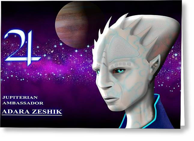 Science Fiction Art Greeting Cards - Alien from Jupiter Greeting Card by John Wills