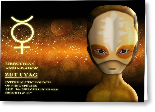 Science Fiction Art Greeting Cards - Alien from Mercury Greeting Card by John Wills