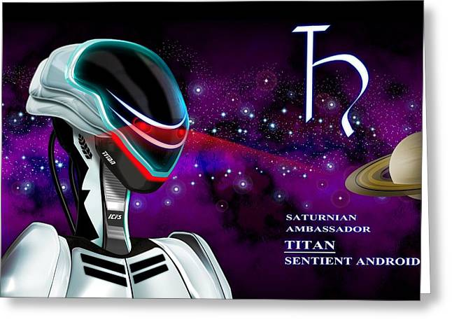Visitors Digital Greeting Cards - Alien from Saturn Greeting Card by John Wills