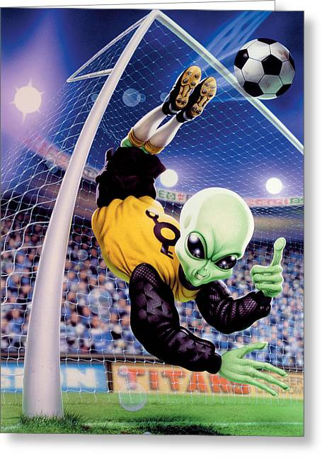 Properties Greeting Cards - Alien Goal Keeper Greeting Card by Steve Read