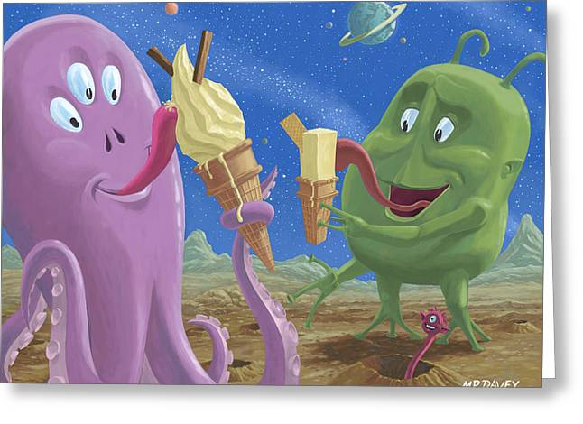 Cartoon Greeting Cards - Alien Ice Cream Greeting Card by Martin Davey