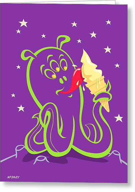 Creature Eating Greeting Cards - Alien Ice Cream -vector Version Greeting Card by Martin Davey