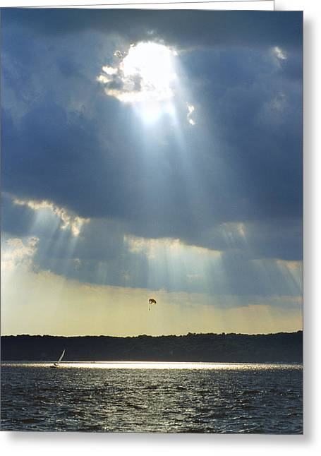 Sailboat Greeting Cards - Alien - Lake Geneva Wisconsin Greeting Card by Bruce Thompson