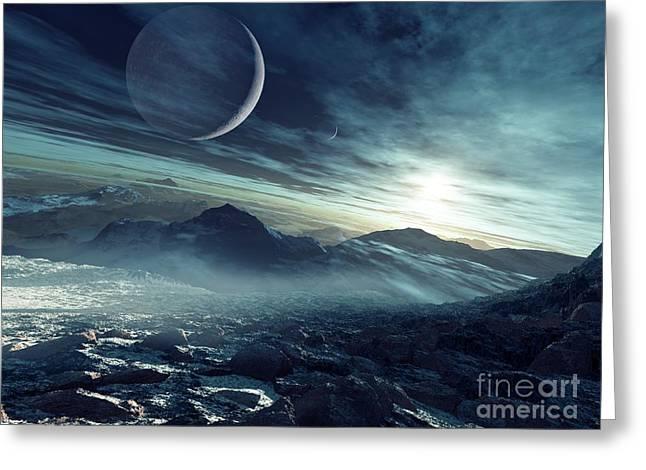 Extrasolar Planet Greeting Cards - Alien Landscape And Moons, Artwork Greeting Card by Detlev Van Ravenswaay