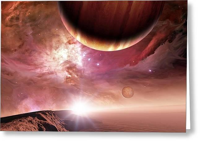 Extrasolar Planet Greeting Cards - Alien Landscape And Planet, Artwork Greeting Card by Detlev Van Ravenswaay
