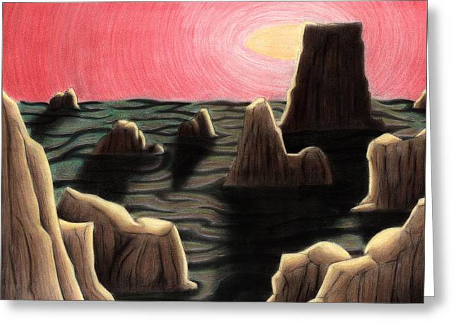 Science Fiction Pastels Greeting Cards - Alien Landscape Greeting Card by Kevin Trow