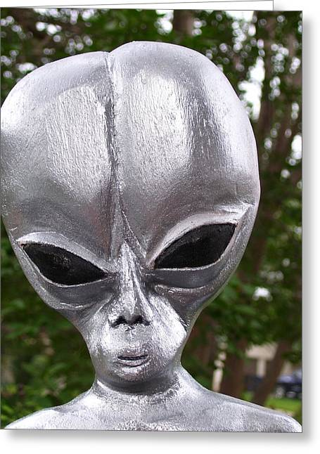 Silver Sculptures Greeting Cards - Alien Greeting Card by Michael Pasko