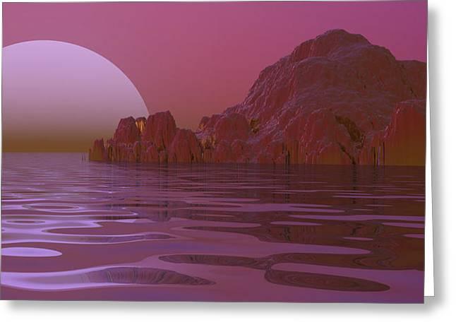 Google Digital Greeting Cards - Alien Moonglow Greeting Card by Wayne Bonney