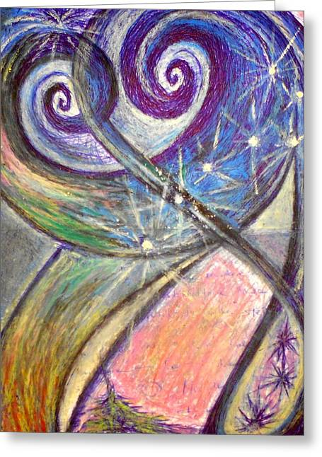 Fireworks Pastels Greeting Cards - Alien Night Greeting Card by Rich Graham