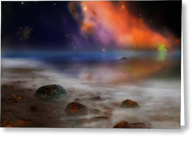 Alien Worlds Greeting Cards - Alien Ocean Greeting Card by Bill  Wakeley