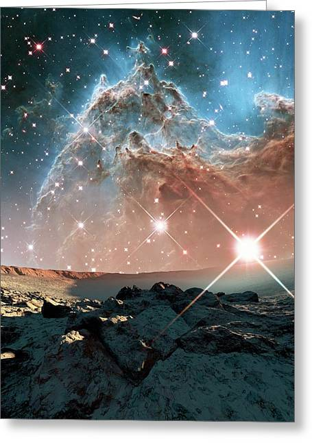 Alien Planet And Monkey Head Nebula Greeting Card by Nasa, Esa, And The Hubble Heritage Team (stsci/aura)/detlev Van Ravenswaay