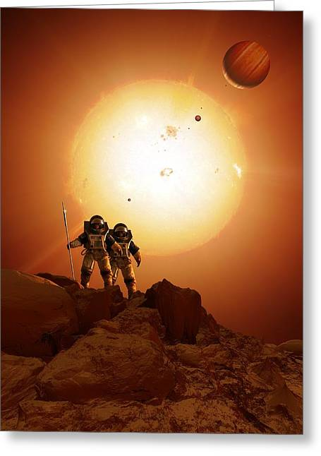 Alien World Greeting Cards - Alien planet exploration, artwork Greeting Card by Science Photo Library