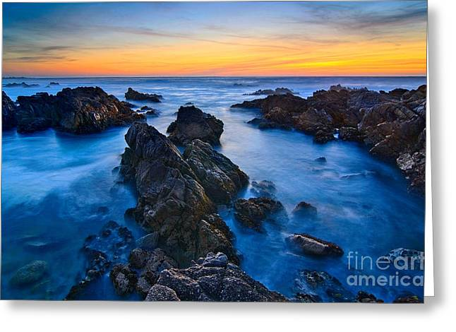 Pacific Grove Beach Greeting Cards - Alien Planet - Rocky Asilomar Beach in Monterey Bay at sunset. Greeting Card by Jamie Pham