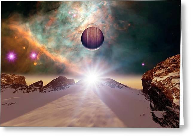 Alien Planetary System In Orion Greeting Card by Detlev Van Ravenswaay