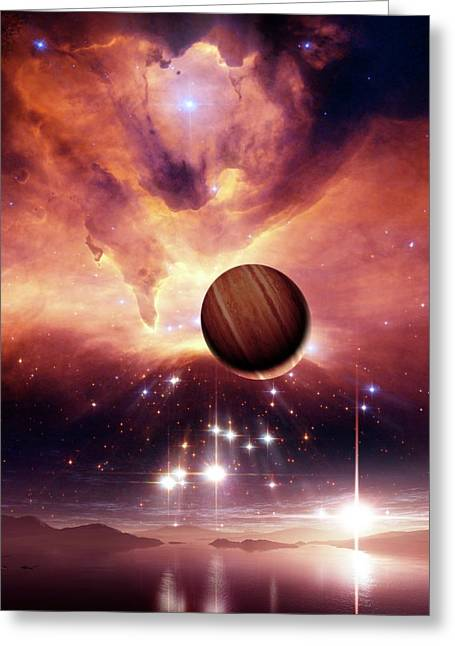 Alien Planets And Nebula Greeting Card by Nasa, Esa And Jes�s Ma�z Apell�niz (instituto De Astrof�sica De Andaluc�a, Spain)/detlev Van Ravenswaay