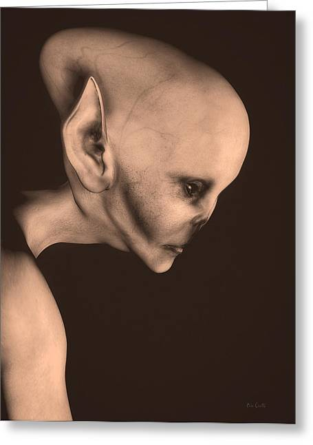 Abduction Digital Art Greeting Cards - Alien Portrait  Greeting Card by Bob Orsillo