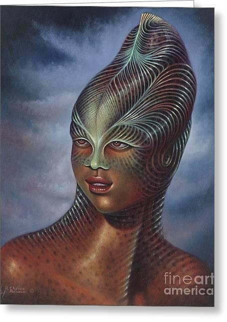 Star Trek Paintings Greeting Cards - Alien Portrait I Greeting Card by Ricardo Chavez-Mendez
