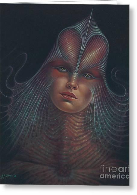 Star Trek Paintings Greeting Cards - Alien Portrait Il Greeting Card by Ricardo Chavez-Mendez