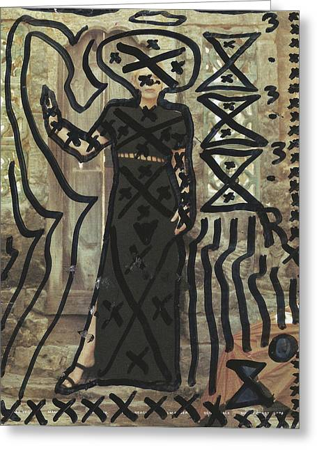 Circuit Drawings Greeting Cards - Alien Prophet Standing Greeting Card by Edward X