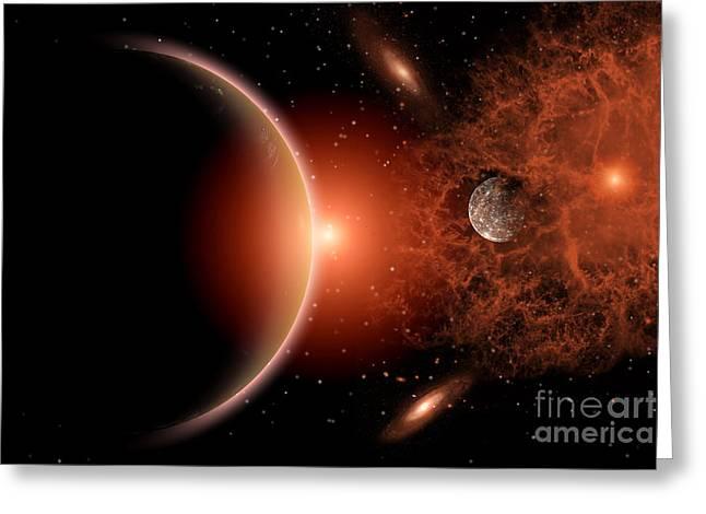 Fantasy World Greeting Cards - Alien Sunrise On A Distant Alien World Greeting Card by Mark Stevenson