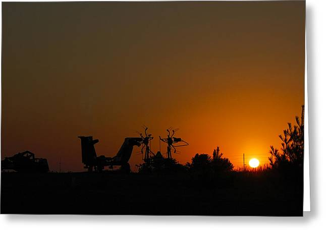 Sunset Tapestries - Textiles Greeting Cards - Alien Sunset Greeting Card by Harry Enderle
