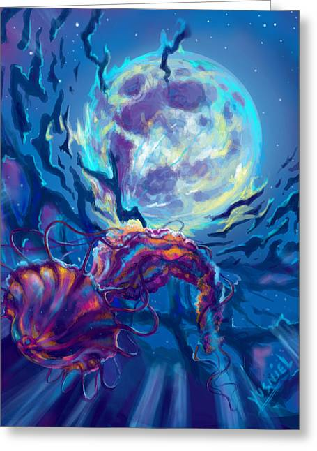 Moon Beach Digital Art Greeting Cards - Two worlds Greeting Card by Yusniel Santos