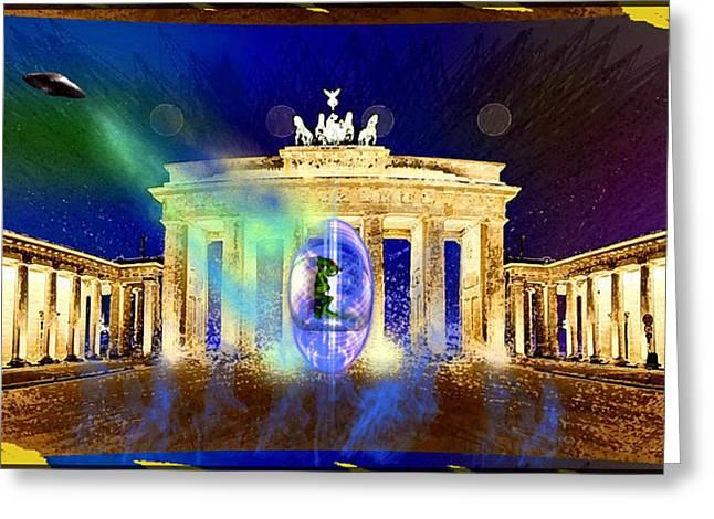 Brandenburg Digital Art Greeting Cards - Aliens Attack on the Brandenburg Gate in Berlin Greeting Card by Daniel Janda