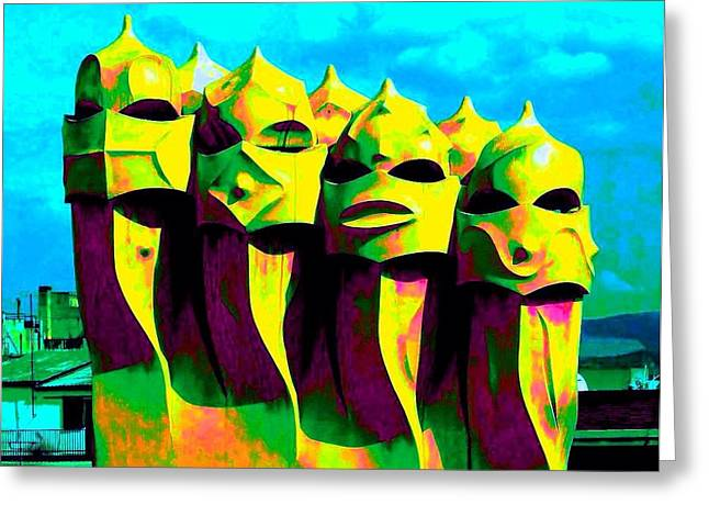 Catalunya Digital Greeting Cards - Aliens III Greeting Card by Seymour Kanowitch