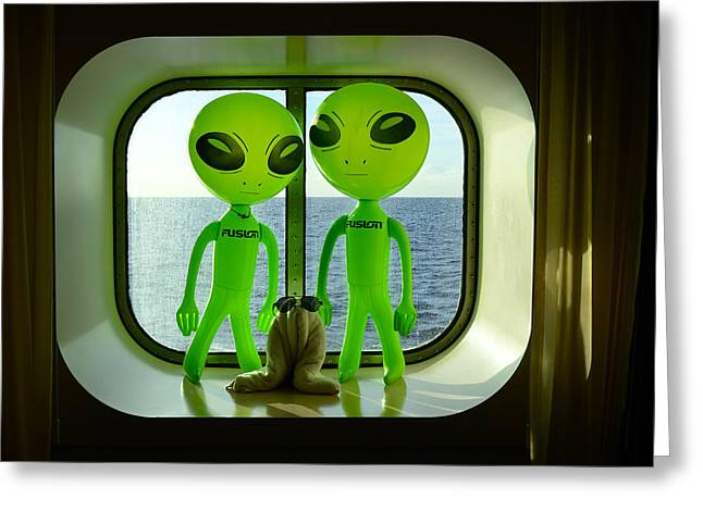 Cabin Window Greeting Cards - Aliens in the Cabin Window Greeting Card by Richard Henne