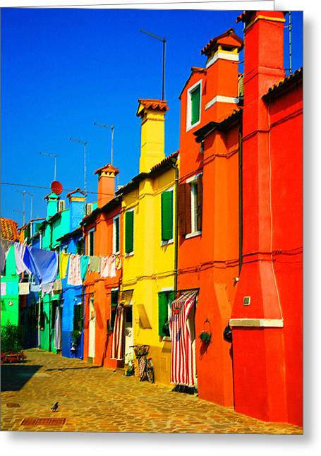 Pastel Artwork Greeting Cards - Aligned Chimneys Greeting Card by Donna Corless
