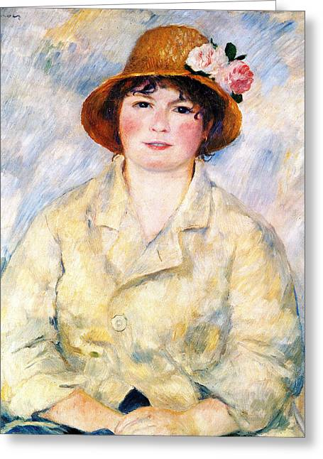 Sitting In A Chair Greeting Cards - Aline Greeting Card by Pierre Auguste Renoir