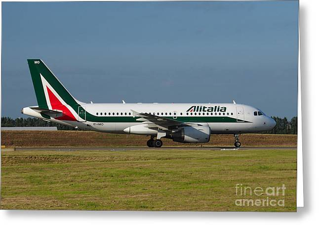 Alitalia Airbus A319 Greeting Card by Paul Fearn