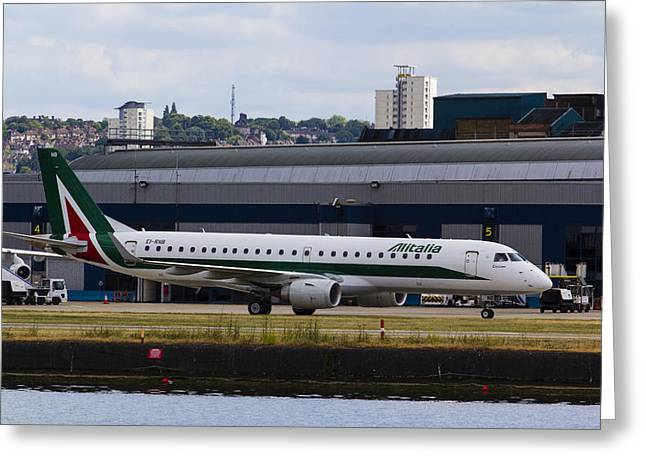 Rnb Greeting Cards - Alitalia  Embraer ERJ-190 London City Airport Greeting Card by David Pyatt