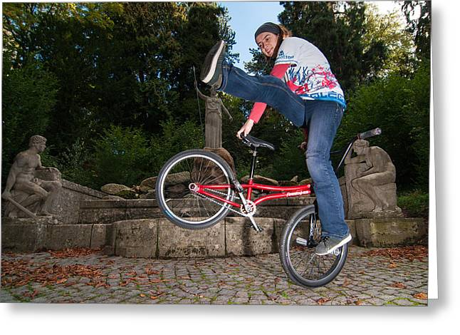 Bicycle Kick Greeting Cards - Alive and kicking - BMX Flatland power girl Greeting Card by Matthias Hauser